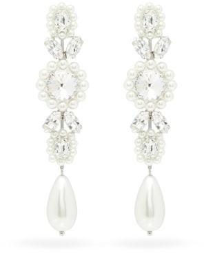 Simone Rocha Faux-pearl & Crystal Drop Earrings - Pearl
