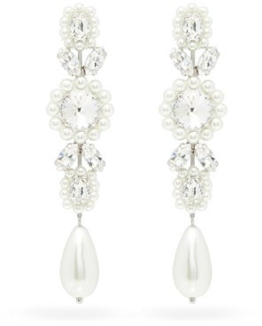 Simone Rocha Faux-pearl & Crystal Drop Earrings - Pearl