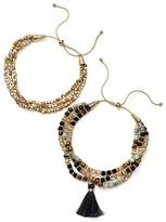 Aqua Calypso Beaded Bracelets, Set of 2