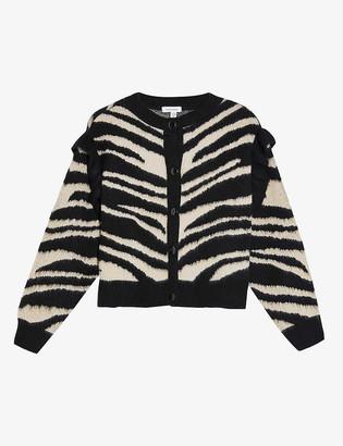 Topshop Zebra-print cropped woven cardigan