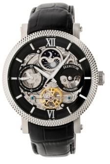 Heritor Automatic Aries Silver & Black & Black Leather Watches 43mm