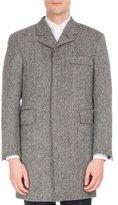 Thom Browne Wool Herringbone Button-Back Chesterfield Coat