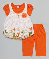 Salmon Polka Dot Layered Tunic & Pants - Infant Toddler & Girls