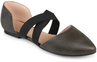 Brinley Co. Womens Pointed Toe Faux Leather Criss Cross Flats