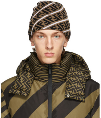 Fendi Brown and White Wool Forever Beanie