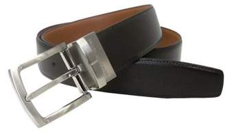 Geoffrey Beene Men's 35mm Classic Dress Belt, Reversible Saffiano to Solid Smooth Strap