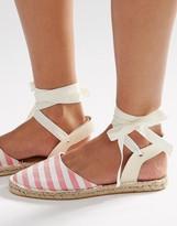 Daisy Street Stripe Ankle Tie Espadrilles