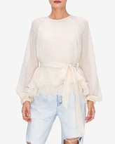 Express Endless Rose Tiered Hem Wrap Front Blouse