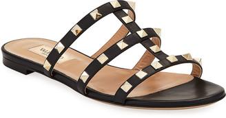 Valentino Rockstud Caged Flat Slide Sandals