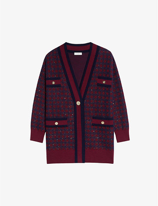 Sandro Sequin-embellished checked woven cardigan