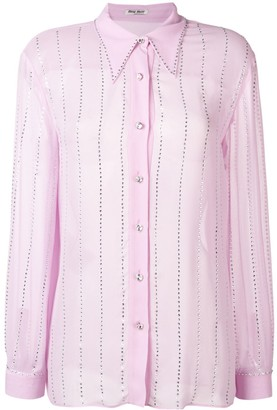 Miu Miu Pointed Collar Embellished Shirt