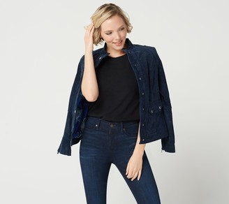 Isaac Mizrahi Live! Suede Utility Jacket with Printed Lining