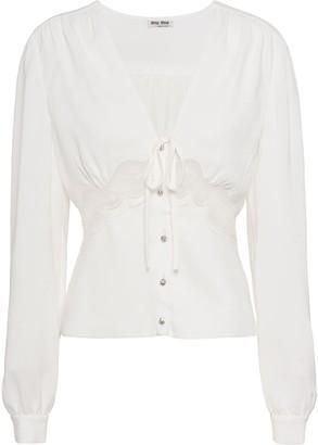 Miu Miu lace detail v-neck blouse