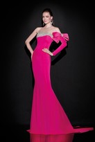 Tarik Ediz One Sleeve Asymmetrical Illusion Gown 92451