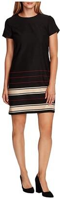 Vince Camuto Short Sleeve Linear Plains Border Shift Dress (Rich Black) Women's Clothing