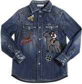 Dolce & Gabbana Cowboy Patches Cotton Denim Shirt