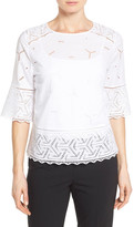 Nordstrom Eyelet Lace Inset Cotton Top