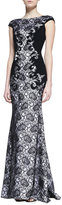 O'Neill Theia by Don Cap Sleeve Lace Gown, Black/White