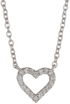 Bony Levy 18K White Gold Petite Open Heart Diamond Pendant - 0.05 ctw