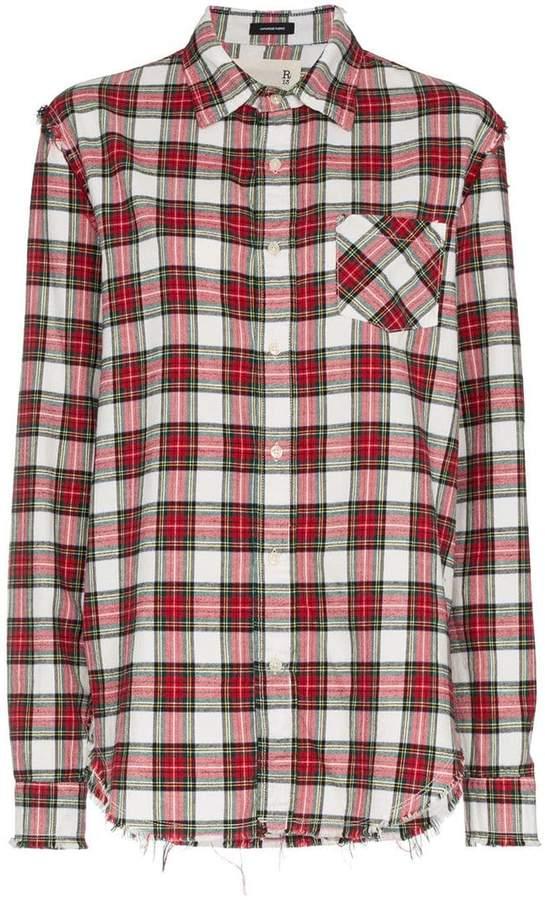 R 13 distressed long sleeve check print cotton shirt