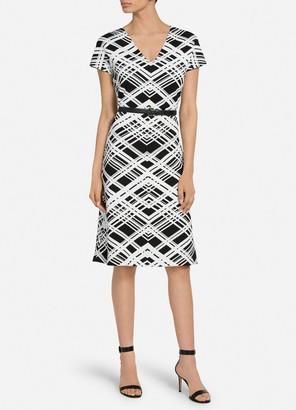 St. John Architectural Grid Jacquard Knit Dress