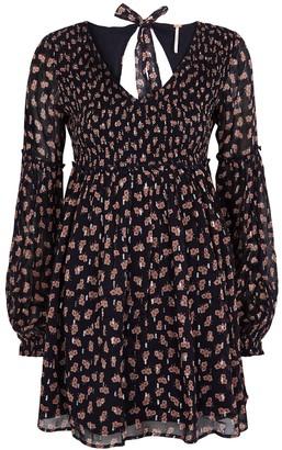 Free People Maria Floral-print Chiffon Mini Dress