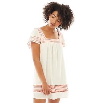 Jack Wills Womens Heatherington Embroidered Dress Ecru