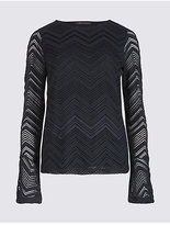 M&S Collection Brushed Lace Flute Sleeve T-Shirt