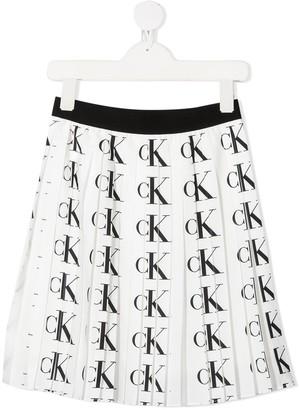 Calvin Klein Kids All-Over Logo Pleated Skirt