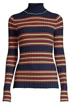 Tory Burch Women's Striped Rib-Knit Wool Turtleneck Sweater
