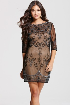 Little Mistress Frock and Frill Mocha Lace Embroidery Overlay