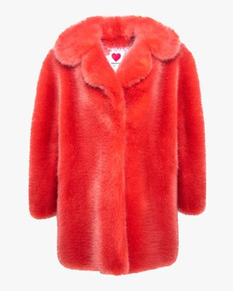 House Of Fluff Fox Oversized Faux Fur Peacoat