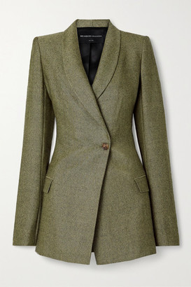Brandon Maxwell Herringbone Wool Blazer - Army green