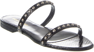 Saint Laurent Kiki Snake-Embossed Leather Sandal
