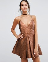 Asos NIGHT Deep Plunge Aline Metallic Mini Dress