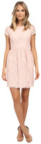 Donna Morgan Short Sleeve Lace Dress w/ Rouched Waist