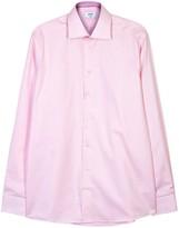 Eton Pink Contemporary Herringbone Cotton Shirt