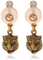 Gucci Tiger Head Earrings W/ Imitation Pearls