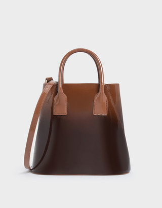 Charles & Keith Two-Tone Leather Boxy Bucket Bag