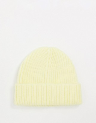 ASOS DESIGN chunky beanie with deep turn up in lemon