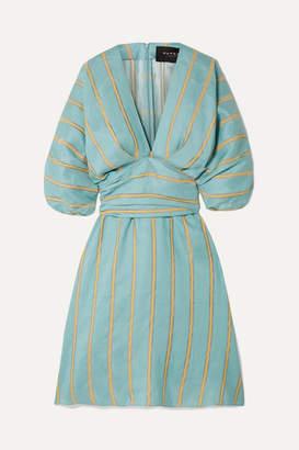 Paper London Kaia Striped Linen-blend Dress - Turquoise