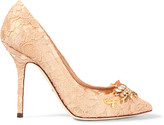 Dolce & Gabbana Embellished Corded Lace Pumps - Blush