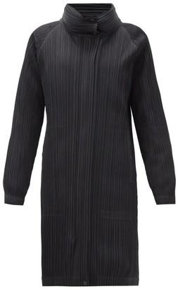 Pleats Please Issey Miyake Detachable-panel Padded Technical-pleated Coat - Black