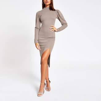 River Island Womens Beige long sleeve bodycon midi dress