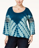 Jessica Simpson Trendy Plus Size Laurine Tie-Dyed Top