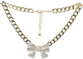 Arden B Rhinestone Bow Chain Necklace