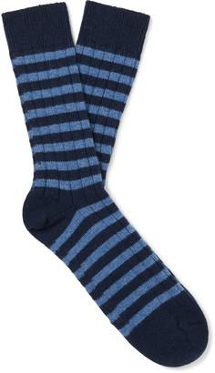 William Lockie Ribbed Striped Cashmere-Blend Socks