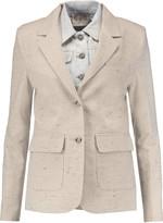 Sea Layered cotton-blend tweed and denim jacket