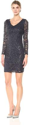 Marina Women's Illusion Lace Cocktail Dress with V Neck and Open Back