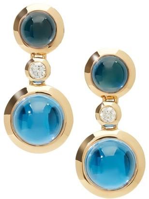 Tamara Comolli Bouton 18K Yellow Gold, Swiss Topaz, London Topaz & Diamond Triple-Drop Earrings